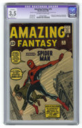 Silver Age (1956-1969):Superhero, Amazing Fantasy #15 (Marvel, 1962) CGC Apparent VG- 3.5 Slight (A)Off-white to white pages. If a high-grade unrestored copy...