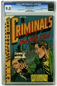 Criminals on the Run V4#5 Mile High pedigree (Curtis, 1949) CGC VF/NM 9.0 Off-white to white pages. Hypodermic needle pa...