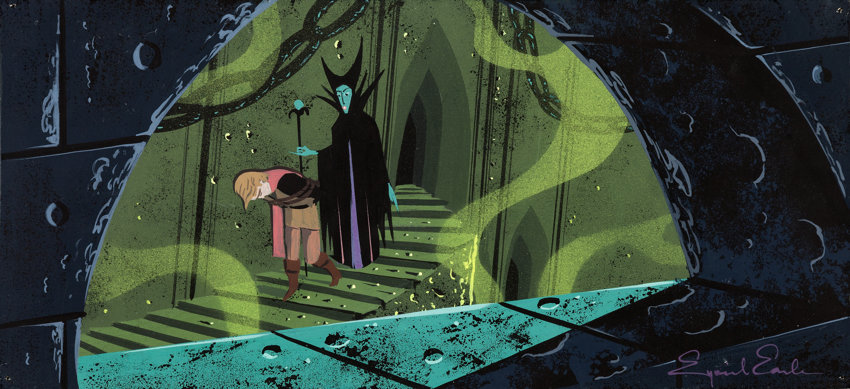 Eyvind Earle Sleeping Beauty Maleficent and Prince Phillip