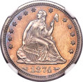 Proof Seated Quarters, 1874 25C Arrows PR65 NGC. Briggs 5-D....