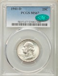 Washington Quarters, 1941-D 25C MS67 PCGS. CAC. PCGS Population (40/1). NGC Census:(103/1). Mintage: 16,714,800. Numismedia Wsl. Price for prob...