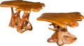 Furniture : American, American School (20th Century). Pair of Natural Wood-FormTables, circa 1970. California walnut. 29 x 55 x 14 inches(73... (Total: 2 Items)