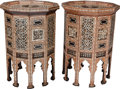 Furniture : Continental, A Pair of Moorish Inlaid Ten-Sided Tables, 20th century. 32-1/8inches high x 22-3/8 inches diameter (81.6 x 56.8 cm). ... (Total:2 Items)