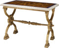 Furniture : French, A Charles X-Style Gilt Bronze Table with Inlaid Tiger's Eye andLapis Lazuli Marble Top, 20th century. 30-1/2 h x 42 w x 25 ...