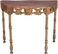 Furniture : Continental, An Italian Giltwood Console Table with Painted Faux Marble Top, early 19th century. 32 h x 39-1/2 w x 23 d inches (81.3 x 10...