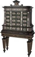 Furniture : Continental, A Continental Baroque-Style Marble and Silver-Plated InlaidHardwood Cabinet on Stand, 20th century. 76-1/2 h x 44-1/2 w x 1...(Total: 2 Items)