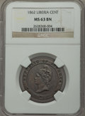 Liberia, Liberia: Republic Cent 1862 MS63 Brown NGC,...