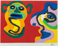 Prints, Karel Appel (Dutch, 1921-2006). Waiting for the Second Kiss, 1974. Lithograph in colors on cream wove paper. 22 x 30 inc...