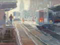 Fine Art - Painting, American:Contemporary   (1950 to present)  , American School (20th Century). Waiting on the Train. Oil oncanvas. 22-1/2 x 30 inches (57.2 x 76.2 cm). ...