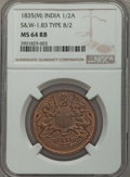 India:British India, India: British India. East India Co. 1/2 Anna 1835(M) MS64 Red and Brown NGC,...