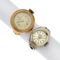 Timepieces:Other , Two Lady's 18k Gold & 14k Gold Rings Watches Runners. ...(Total: 2 Items)