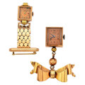 Timepieces:Pendant , Two 14k Gold Watch Pendants . ... (Total: 2 Items)