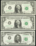 Small Size:Federal Reserve Notes, 1963A Federal Reserve Notes Choice Crisp Uncirculated.. ... (Total: 3 notes)
