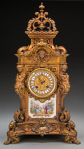 Clocks & Mechanical:Clocks, A Napoleon III Gilt Bronze and Porcelain-Mounted Mantle Clock retailed by Tiffany & Co., circa 1875. Marks to clock face: ...