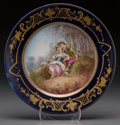Ceramics & Porcelain, Continental:Modern  (1900 1949)  , A Sèvres-Style Painted and Partial Gilt Porcelain Plate, early 20th century. Marks: (pseudo Sèvres mark). 9-3/8 inches diame...