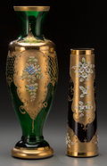 Ceramics & Porcelain, Continental:Other , Two Bavarian Painted and Partial Gilt Glass Vases, late 19th/early 20th century. 16-7/8 inches (42.9 cm). PROPERTY FROM A ... (Total: 2 Items)