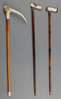Decorative Arts, British:Other , Three Carved Bone-Handled Canes, early 20th century. Marks:STERLING, 925/1000 FINE; STERLING. 36 inches high (91.4cm)... (Total: 3 Items)
