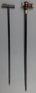 Decorative Arts, British:Other , Two Figural Spyglass Canes, early 20th century. 39-1/4 inches high (99.7 cm) (taller). ... (Total: 2 Items)