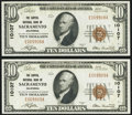 National Bank Notes:California, Sacramento, CA - $10 1929 Ty. 1 The Capital NB Ch. # 10107 Two Consecutive Examples. ... (Total: 2 notes)