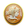Estate Jewelry:Brooches - Pins, Shell Cameo, Gold, Yellow Metal Brooch. ...