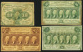 Fractional Currency:Group Lots, Quartet of Postage Currency Notes. ... (Total: 4 notes)