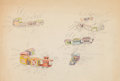Animation Art:Color Model, Dumbo Circus Trains Color Model Drawing (Walt Disney,1941)....
