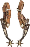 Western Expansion:Cowboy, Single Mounted Kelly Brothers and Parker Spurs Circa 1912-1917....