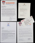 Basketball Collectibles:Others, Basketball Greats Signed Letters and Envelope Lot of 5....
