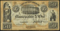 Obsoletes By State:Louisiana, New Orleans, LA- City of New Orleans-Municipality No. One $50 Post Note Oct. 30, 1837. ...
