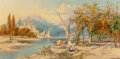 Fine Art - Painting, European:Antique  (Pre 1900), James Duffield Harding (British, 1798-1863). Lago di Garda, 1887. Oil on canvas. 12 x 24-1/4 inches (30.5 x 61.6 cm). Si...