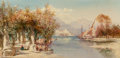 Fine Art - Painting, European:Antique  (Pre 1900), James Duffield Harding (British, 1798-1863). Italian lake with sailboats and figures collecting water, 1887. Oil on canv...