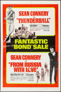 """Movie Posters:James Bond, Thunderball/From Russia with Love Combo (United Artists, R-1968). One Sheet (27"""" X 41""""). James Bond.. ..."""