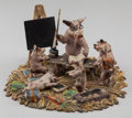 Bronze:European, An Austrian Cold Painted Bronze Figural Group: BarnyardLessons, late 19th century. 2-1/2 h x 4-1/2 w inches (6....