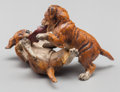 Paintings, An Austrian Cold Painted Bronze Figural Group: Puppy Play, late 19th century. Marks: M.S. 3-1/4 inches long ...