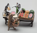 Bronze:European, An Austrian Cold Painted Bronze Figural Group after Franz Bergman:Fruit Market, late 19th century. Marks: (FB o...