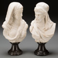 Decorative Arts, Continental:Other , A Pair of Italian Carrara Marble Busts of Figures in Arab Dress, .12-1/2 inches high (31.8 cm). ... (Total: 4 Items)
