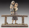 Bronze:European, An Austrian Cold Painted Bronze Figural Group: Balancing on the Hitching Post, late 19th century. Marks: GESCH...