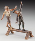 Bronze:European, An Austrian Cold Painted Bronze Figural Group: BalancingAct, late 19th century. 4-3/4 h x 4-1/2 w inches (12.1 ...