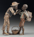 Bronze:European, A Franz Bergman Cold Painted Bronze Figural Group: Two Boys Smoking Cigarettes, late 19th century. Marks: (ampho...