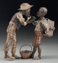 A Franz Bergman Cold Painted Bronze Figural Group: Two Boys Smoking Cigarettes, late