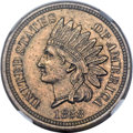 Patterns, 1858 P1C Indian Cent, Judd-208, Pollock-259, Snow-PT28, R.3, MS61 NGC....
