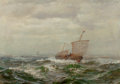 Fine Art - Painting, American:Modern  (1900 1949)  , James Gale Tyler (American, 1855-1931). High Seas. Oil oncanvas. 20 x 28 inches (50.8 x 71.1 cm). Signed lower left:...