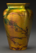 Ceramics & Porcelain, A Zsolnay Lustre Ceramic Marbled Vase,Pécs, Hungary, circa 1900. Marks: (applied five tower mark), ZSOLNAY, PECS, 6014, M,...
