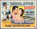 "Movie Posters:Adventure, The Purple Mask & Others Lot (Universal International, 1955).Half Sheet (22"" X 28"") Style B, One Sheet (27"" X 41"" &Italian... (Total: 3 Items)"