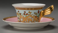 A Rosenthal Versace Le Jardin Porcelain Cup and Saucer Service for Six, 20th century