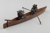 An Austrian Cold Painted Bronze Figural Group: Courting Bears in Rowboat, 20th centu