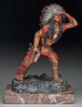 Bronze:European, A Cold Painted Bronze Figure on Marble Base after Carl Kauba:Native American with Hatchet, mid to late 20th cen...
