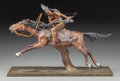 Bronze:European, A Cold Painted Bronze Figural Group after Carl Kauba: NativeAmerican on Horseback, mid to late 20th century...