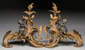 Decorative Arts, French:Other , A Pair of Napoleon III Gilt and Patinated Bronze Chenets, circa1870. 14-7/8 inches high (37.8 cm). ... (Total: 2 Items)