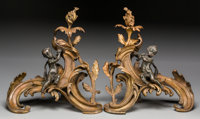 A Pair of Napoleon III Gilt and Patinated Bronze Chenets, circa 1870 14-7/8 inches high (37.8 cm)